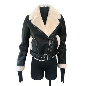GUESS  CARRIE Faux-Shearling Moto Jacket XS